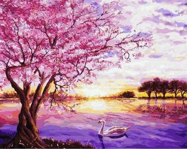 Картина по номерам на подрамнике. Лебеди и розовое дерево ВанГогВоМне