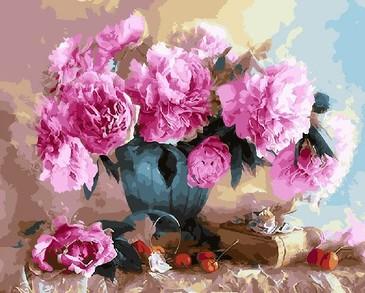 Картина по номерам на подрамнике. Шикарные розовые пионы ВанГогВоМне
