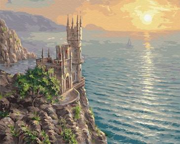 Картина по номерам на подрамнике. Ласточкино гнездо у моря ВанГогВоМне