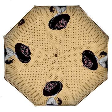 Зонт автомат 3 сложения Дама с вуалью Flioraj