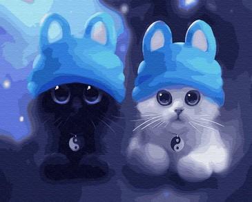 Картина по номерам на подрамнике. Котята в шапочках ВанГогВоМне