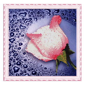 Алмазная мозайка без подрамника. Белая роза Color Kit