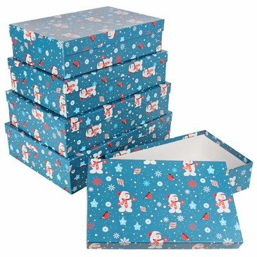 Набор из 5 прямоугольных коробок Веселый снеговик Pioneer