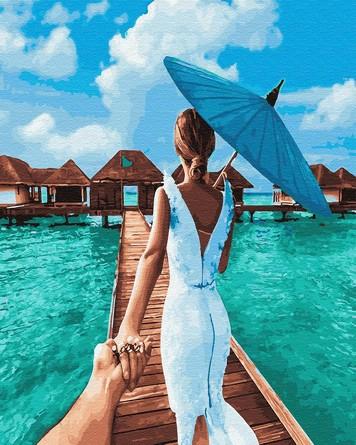 Картина по номерам на подрамнике. Следуй за мной. Мальдивские отстрова ВанГогВоМне
