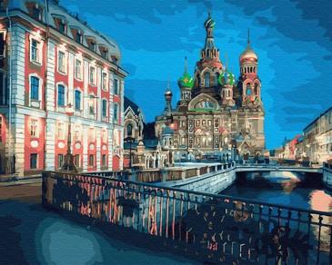 Картина по номерам на подрамнике. Храм Спаса на крови. Санкт-Петербург ВанГогВоМне