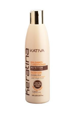 Укрепляющий бальзам-кондиционер с кератином для всех типов волос Keratina, 250 мл Kativa