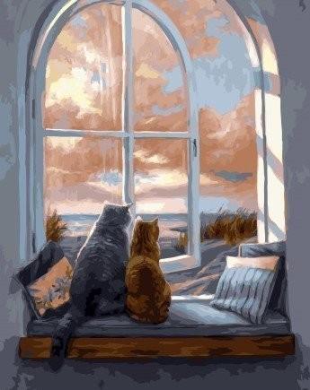 Картина по номерам на подрамнике. Кошки на окне ВанГогВоМне