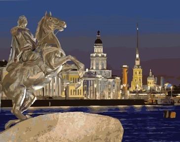 Картина по номерам на подрамнике. Медный всадник. Санкт-Петербург ВанГогВоМне