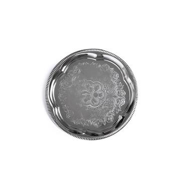 Поднос металлический хромированный 35см Круглый Fissman
