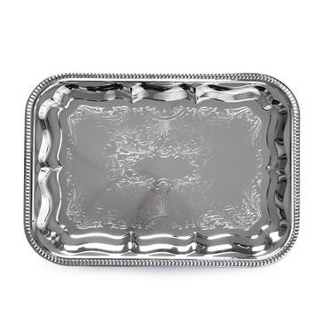 Поднос металлический хромированный 34x25см Прямоугольный Fissman