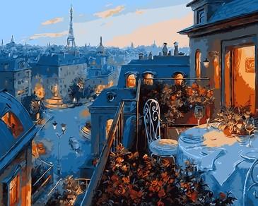 Картина по номерам на подрамнике. Свидание в Париже ВанГогВоМне