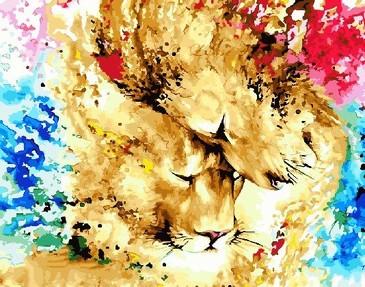 Картина по номерам на подрамнике. Львы в красках ВанГогВоМне