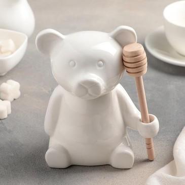 Емкость для меда Эстет. Мишка с ложкой 9,5х12 см Доляна