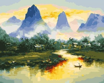 Картина по номерам на подрамнике. Туман в горах ВанГогВоМне