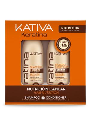 Набор шампунь+ кондиционер  с кератином д/всех типов волос 2х100мл Kativa