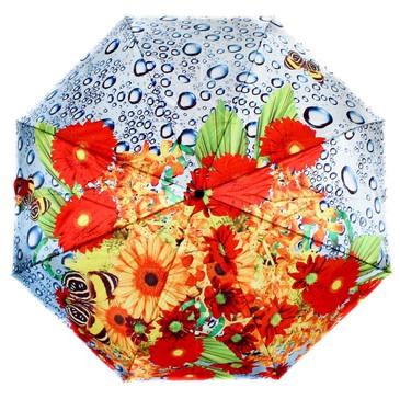 Зонт автомат 3 сложения Пробуждение, цветы Flioraj