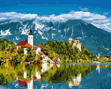 Картина по номерам на подрамнике. Альпийская деревня ВанГогВоМне
