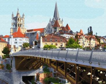 Картина по номерам на подрамнике. Лозанна. Швейцария. ВанГогВоМне
