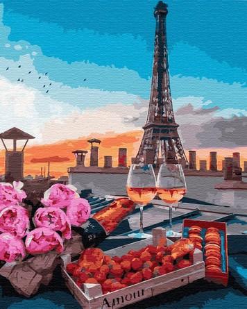 Картина по номерам на подрамнике. Романтический ужин в Париже ВанГогВоМне