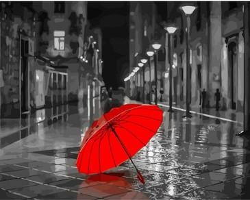 Картина по номерам на подрамнике. Красный зонт ВанГогВоМне