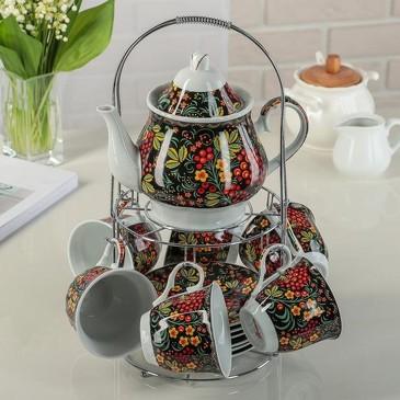 Сервиз чайный Калина красная (6 чашек 210 мл, 6 блюдец и чайник 1000 мл) Доляна