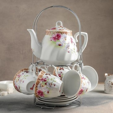 Сервиз чайный Садовый дворик (6 чашек 250 мл, 6 блюдец и чайник 1000 мл) Доляна