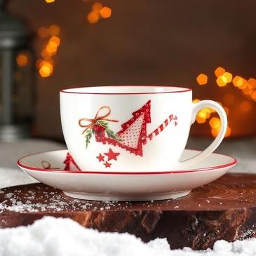 Чайная пара Счастливого Нового Года чашка 280 мл, блюдце 15 см Доляна