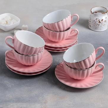 Чайный сервиз Вивьен (6 чашек 200 мл и 6 блюдец d15 см) Доляна