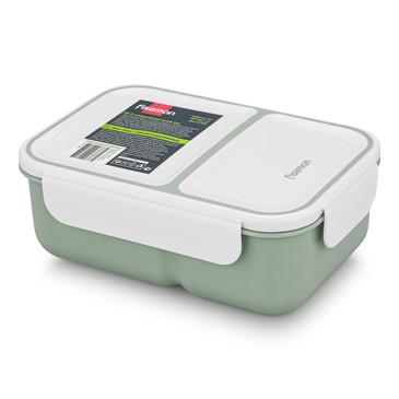 Ланч-бокс с двумя отделениями 20x14x8см / 1300мл, цвет Зеленый (пластик) Fissman