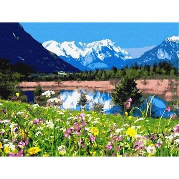 Картина по номерам на подрамнике. Летнее озеро в горах ВанГогВоМне