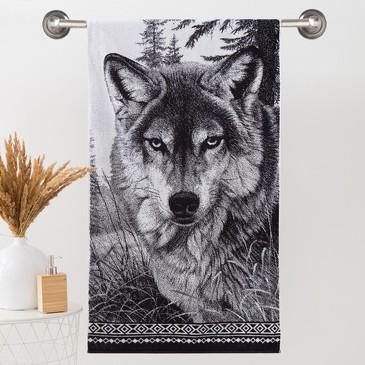 Полотенце махровое ЧБ Волк Этель