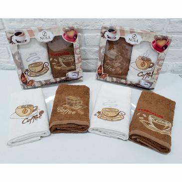 Салфетки махровые с вышивкой Кофе (2 шт.) Nusa