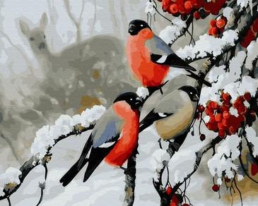 Картина по номерам на подрамнике. Снегири зимой ВанГогВоМне