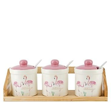 Набор банок с ложками для сыпучих продуктов Фламинго (3 шт), 240 мл Dolomite