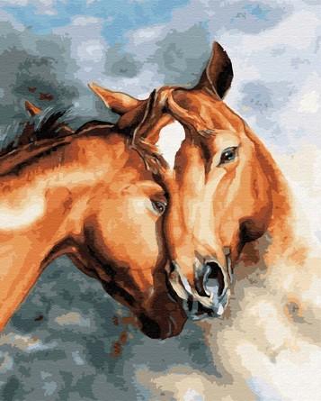 Картина по номерам на подрамнике. Нежность лошадей ВанГогВоМне