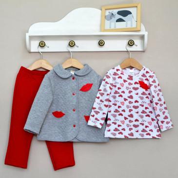 Комплект (лонгслив, кофта и брюки) Поцелуйчики Baby Boom