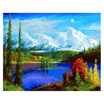 Картина по номерам на подрамнике. Живописные горы Paintboy