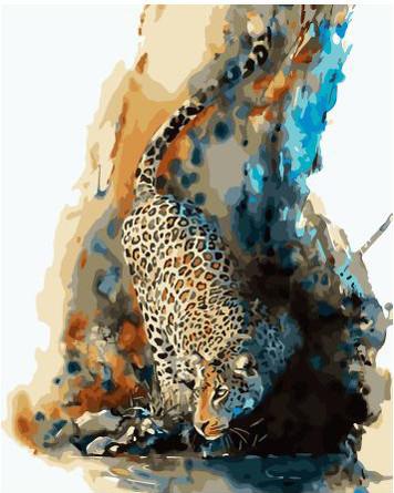 Картина по номерам на подрамнике. Акварельный леопард ВанГогВоМне