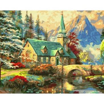 Картина по номерам на подрамнике. Дом с зеленой крышей ВанГогВоМне