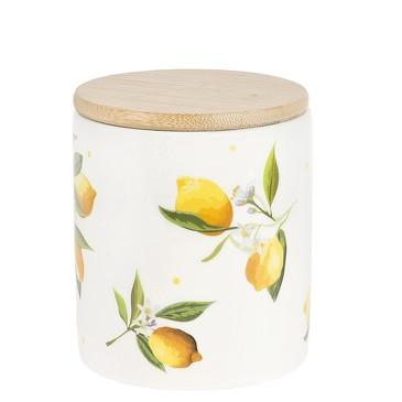 Банка для сыпучих продуктов с бамбуковой крышкой Лимоны,650 мл Dolomite