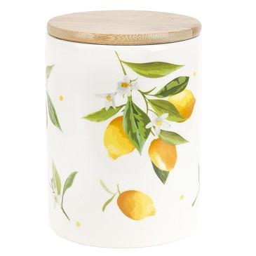 Банка для сыпучих продуктов с бамбуковой крышкой Лимоны, 840 мл Dolomite