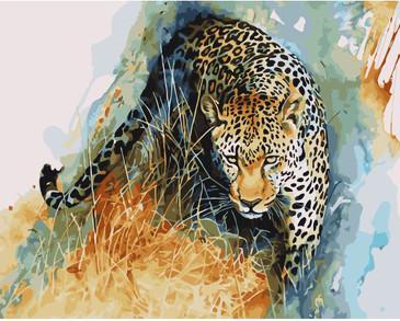 Картина по номерам на подрамнике. Акварельный крадущийся леопард ВанГогВоМне