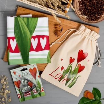 Набор в мешочке Love (полотенце и формочки для печенья) Этель