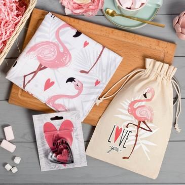 Набор в мешочке Фламинго (полотенце и формочки для печенья) Этель