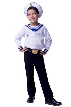 Карнавал. костюм Моряк (рубашка, брюки, ремень, бескозырка) Пуговка