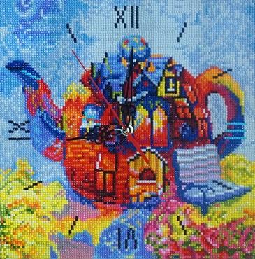 Алмазная мозаика-часы. Чайный дом Color Kit