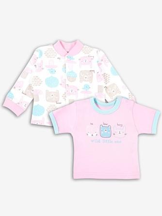 Комплект (кофточка и футболка) Зверушки Веселый малыш