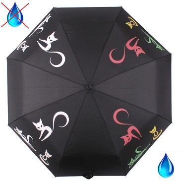 Зонт автомат 3 сложения с проявляющимся рисунком Тайные знаки кошки Flioraj