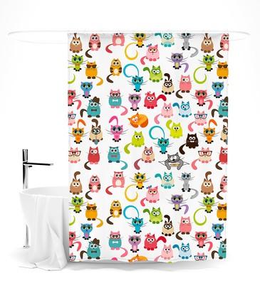 Шторка для ванной Веселая котовасия Сирень