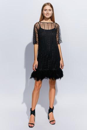 Платье с перьями полоса Minaku